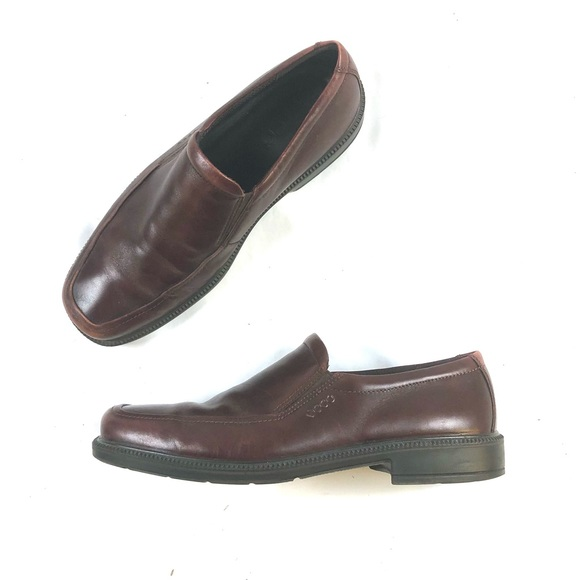 Ecco Men's Brown Leather Loafers Moccasins Sz 46